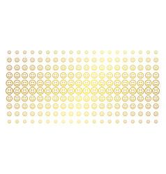 Glad smiley gold halftone grid vector