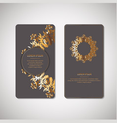 golden floral ornamental cards with oriental vector image