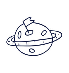 hand drawn planet with orbit doodle sketch style vector image