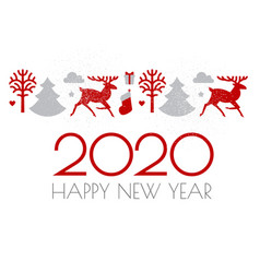 Happy new 2020 year christmas design with reindeer vector