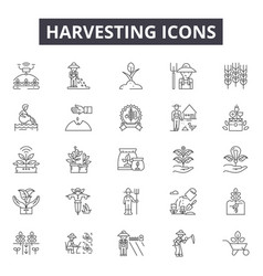 harvesting line icons signs set outline vector image