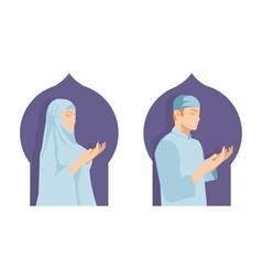Islamic prayer man and woman in ramadan festival vector