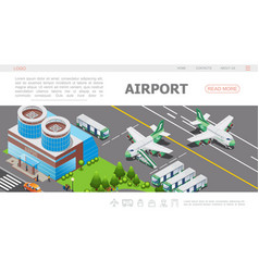 Isometric airport landing page template vector