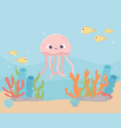 jellyfish fishes sand life coral reef cartoon vector image