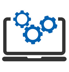 Laptop and gears icon vector