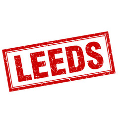 Leeds red square grunge stamp on white vector