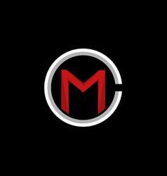 letter cm circle line business logo design vector image