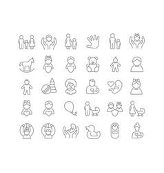 Line icons international children day vector