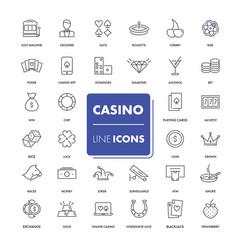 line icons set casino vector image