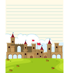 line paper template with castle towers in vector image