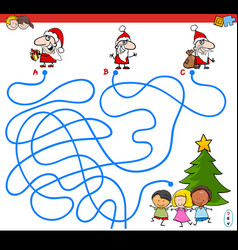 lines maze game with santa characters vector image