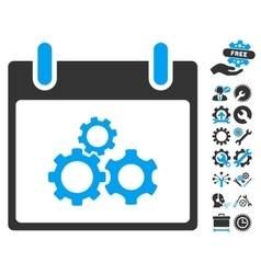 Mechanics gears calendar day icon vector