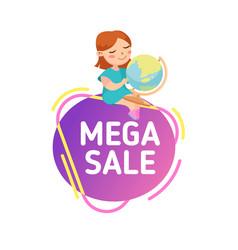mega sale back to school discount banner vector image