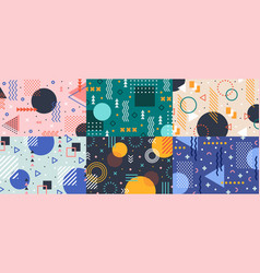 memphis geometry background colorful shapes vector image