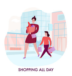 mother with daughter shopping vector image