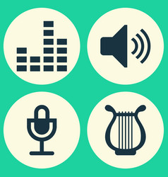 Multimedia icons set collection lyre mike vector
