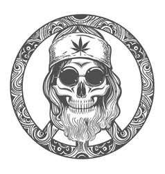 old hippie skull on symbol peace vector image