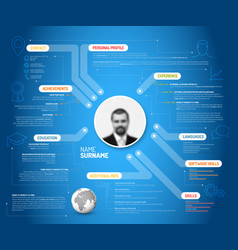Original blue minimalist cv resume template vector