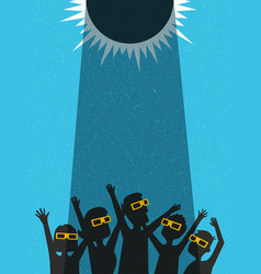 People celebrate watching solar eclipse vector