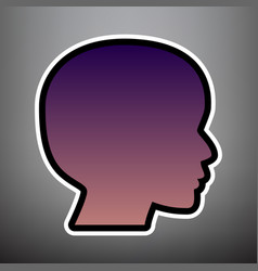 People head sign violet gradient icon vector