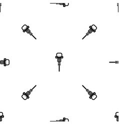 pneumatic hammer pattern seamless black vector image