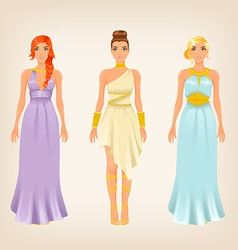 Pretty females in greek styled goddess dresses vector