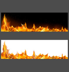 realistic fire flames on banners vector image
