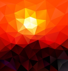 red sundown polygon triangular pattern background vector image