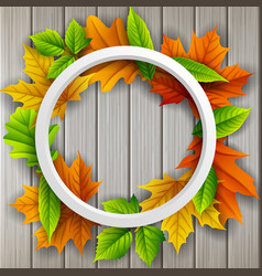 Round frame autumn leaves wood background vector
