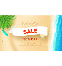 sale get up to 50 percent discount seashore with vector image