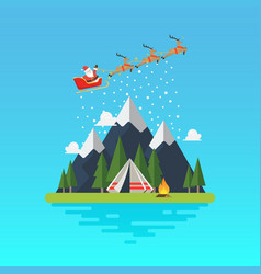 santa sleigh with landscape vector image