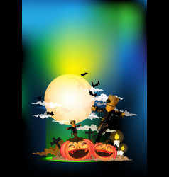 scarecrow and halloween pumpkin at night vector image