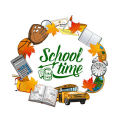 School time frame stationery bus and textbook vector