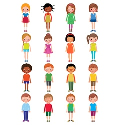 Set of different kids girls and boys vector image