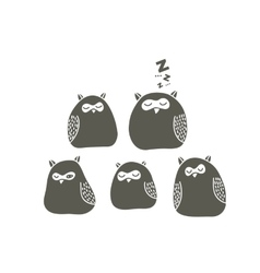 Set of sleeping owls vector image