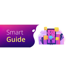 Smart city and digital city guide banner vector