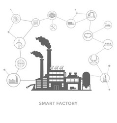 Smart factory and around it icons smart factory vector