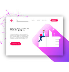 social network app landing page for internet site vector image