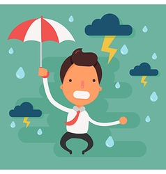 Stressed businessman with black cloud rain vector