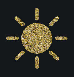 Sun icon with glitter effect isolated on black vector