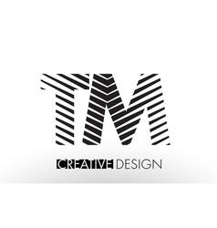 Tm t m lines letter design with creative elegant vector