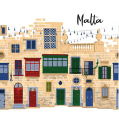 Traditional maltese houses made sandy stone vector