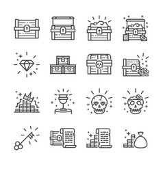 Treasure chest icon set vector