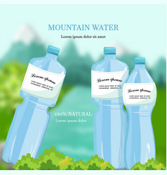 water bottles mountain fresh water vector image