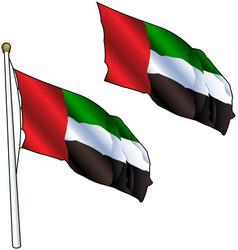 Waving united arab emirates flag vector