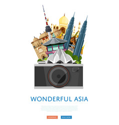 Wonderful asia poster with famous attractions vector
