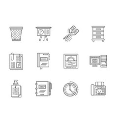 equipment for office flat line icons set vector image