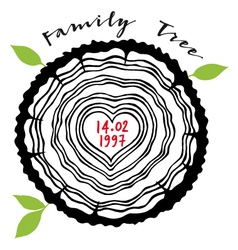 Family tree with heart rings vector image vector image