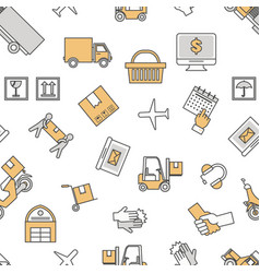 logistic services seamless pattern thin vector image