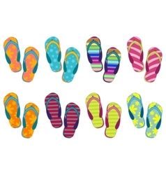 Set of eight different colors of beach slippers vector image
